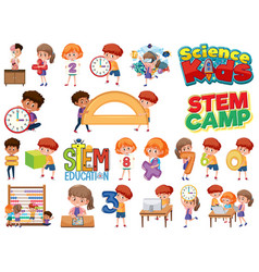 set children with education objects isolated vector image