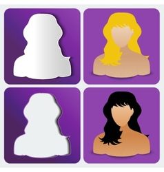 Set of four womens custom icons amethyst color vector image