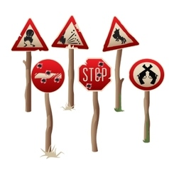 Set of six riddled road signs in western style vector