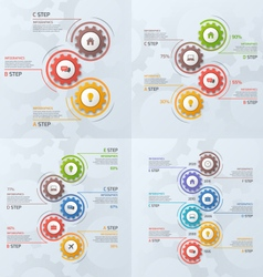 Set of vertical timeline infographic templates vector