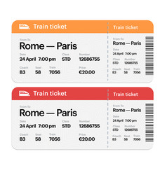 set train boarding pass tickets isolated vector image