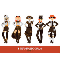 set with steampunk man cartoon flat vector image