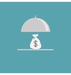 Silver platter cloche and money bag Flat design vector