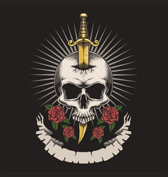 Skull dagger rose vector