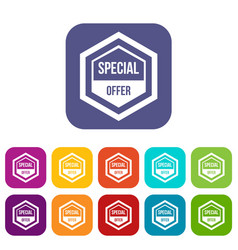 Special offer pentagon icons set vector