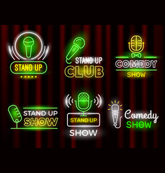 standup comedy open microphone comedian symbols vector image