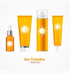 Sun protection cosmetic cream template set vector