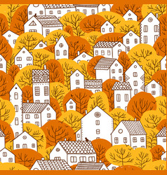 Trees and houses seamless pattern autumn orange vector