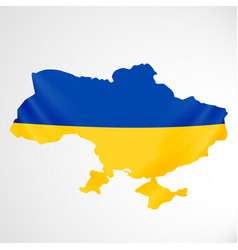 Ukraine flag in form of map ukraine national vector