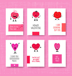 valentines day cards with cute heart characters vector image