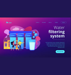 Water filtering system concept landing page vector