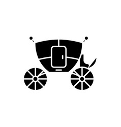 Wedding carriage black icon sign on vector