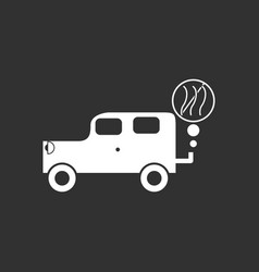 White icon on black background car and smoke vector