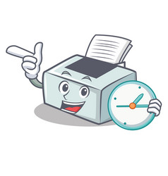With clock printer character cartoon style vector