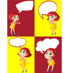 Woman and four speech bubble designs vector