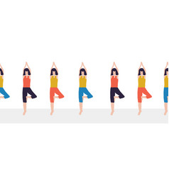 yoga class seamless border women fitness vector image