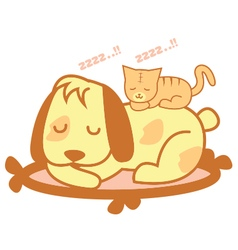 Cat and Dog Sleep vector image
