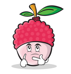 thinking face lychee cartoon character style vector image vector image