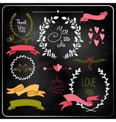 Wedding graphic set on chalkboard vector image