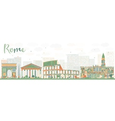 Abstract Rome Skyline with Color Landmarks vector image vector image