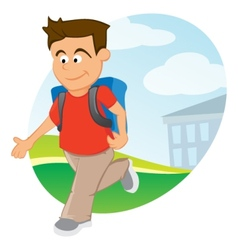 Boy with backpack vector image vector image