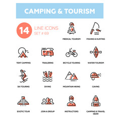 camping and tourism - line design icons set vector image vector image