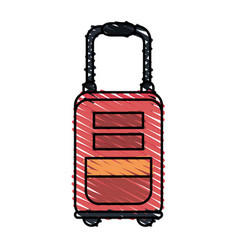 Color crayon stripe image red travel suitcase with vector