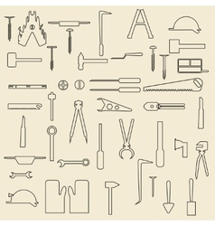 Construction tools linear icons vector image