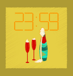 flat shading style icon champagne christmas clock vector image