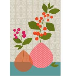 flowers berries vases vector image