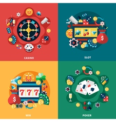 Casino Games Flat Icons Square Composition vector image vector image