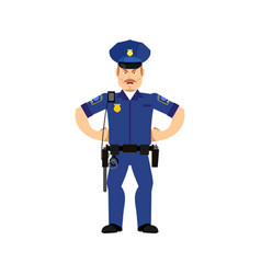 police officer angry emoji isolated policeman vector image vector image