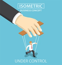 Businessman are under control like a puppet by big vector image