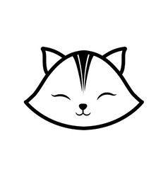 face cat clossed eyes feline outline vector image vector image