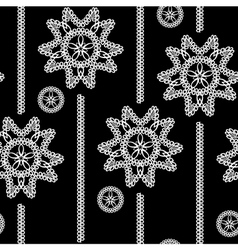 seamless monochrome background with white lace flo vector image
