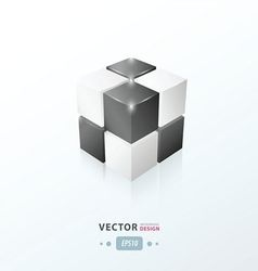 3D Cube black and white color vector image