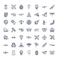 49 fly icons vector