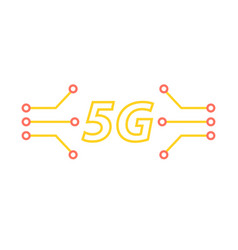 5g and the contacts of the motherboard on a white vector