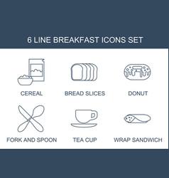6 breakfast icons vector