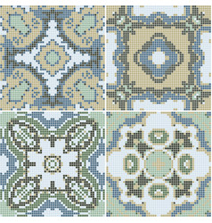 a collection of ceramic tiles in green retro vector image