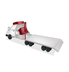 A Tractor Trailer Flatbed on White Background vector