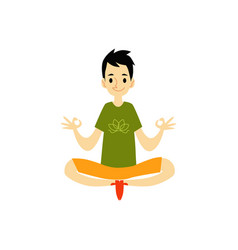 A young man sits in a lotus position and meditates vector