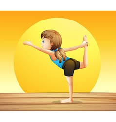A young woman doing yoga vector