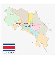 administrative map costa rica with flag vector image