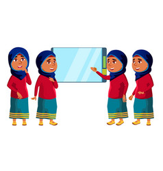 arab muslim girl kid poses set high vector image