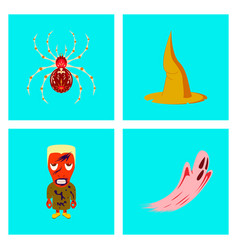 Assembly flat spider witch hat monster ghost vector