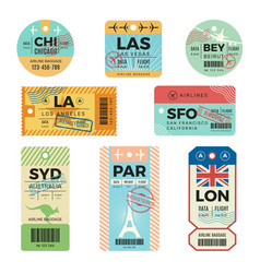Baggage tags retro tickets for travellers luggage vector