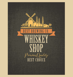 Banner for whiskey shop with village landscape vector