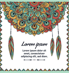 beautiful card with feather card of mandala in vector image