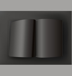 black open book on dark table mockup vector image